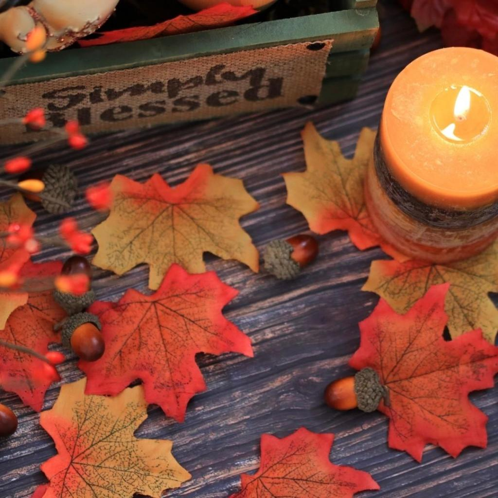 Fallen Leaves and Candle