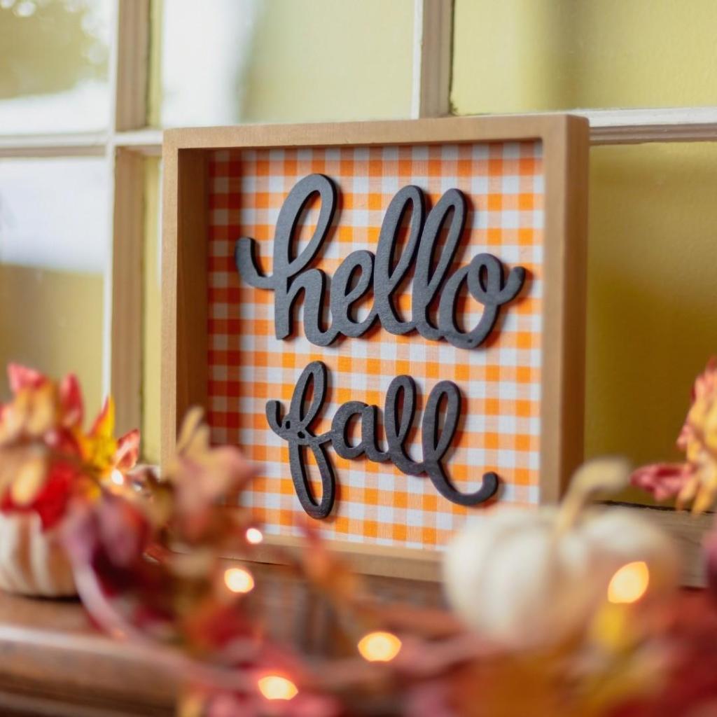 Hello Fall Decor Mantle Display
