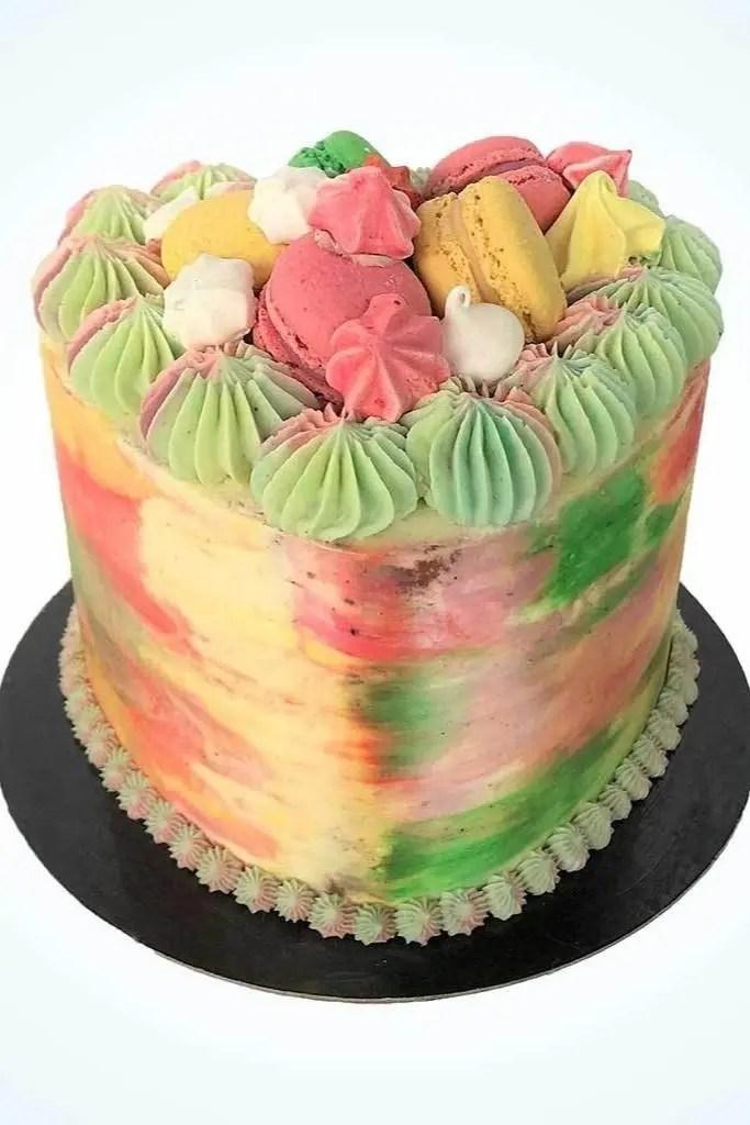 Pastel Paris Heart Birthday Cake