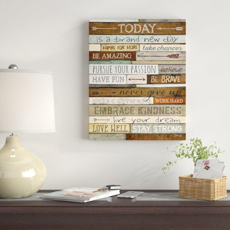 Today Inspirational Textual Art on Canvas