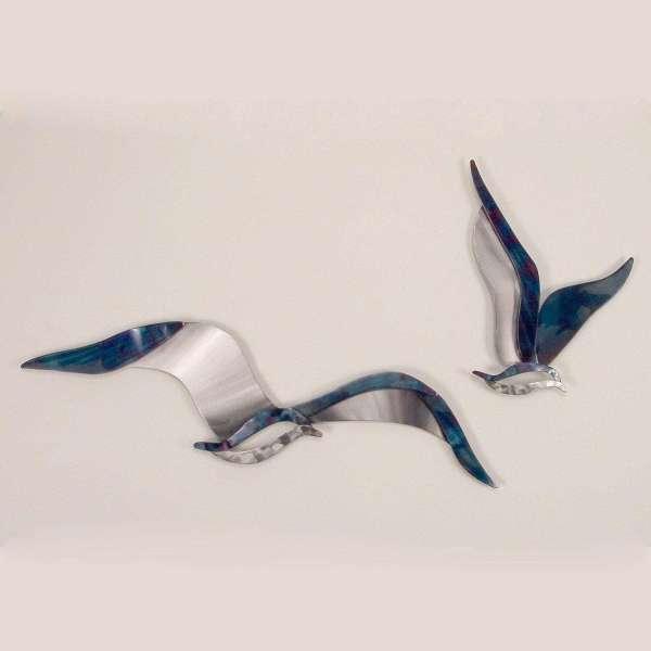 Metal Wall Art Set Soaring Seagulls