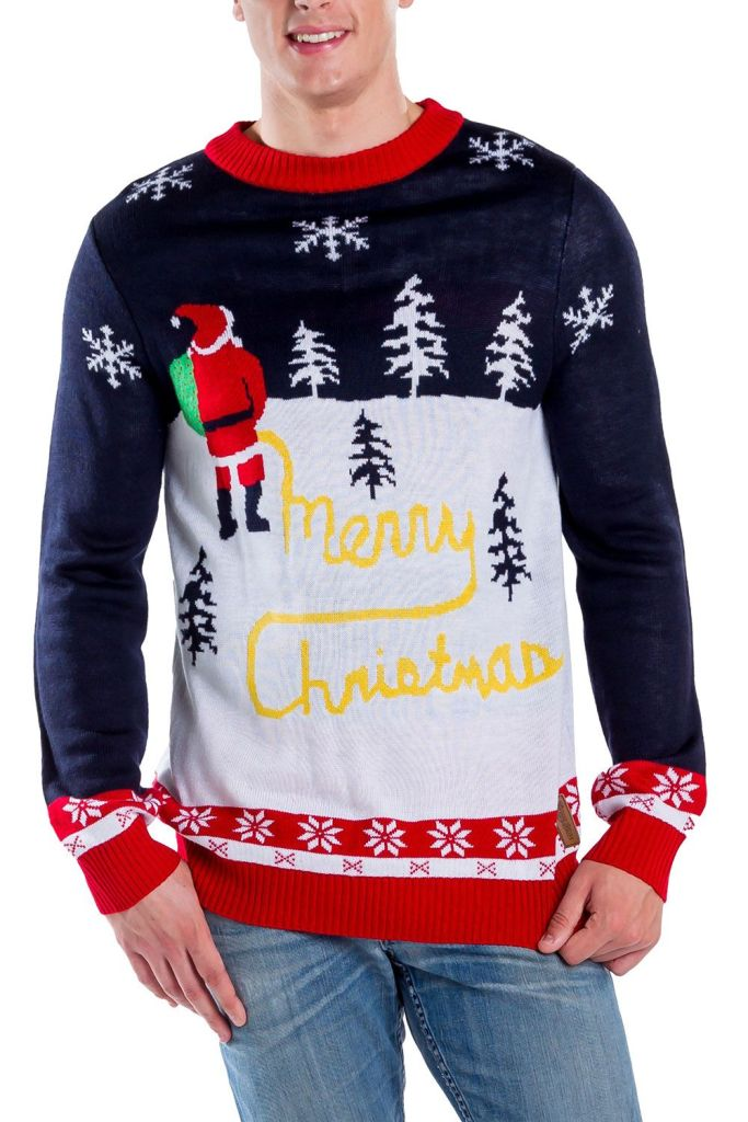 Santa Peeing Merry Christmas Ugly Sweater