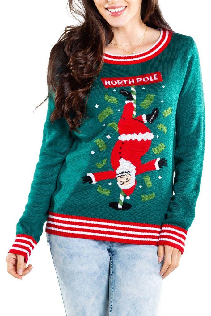 Stripper Santa Women's Ugly Christmas Sweater
