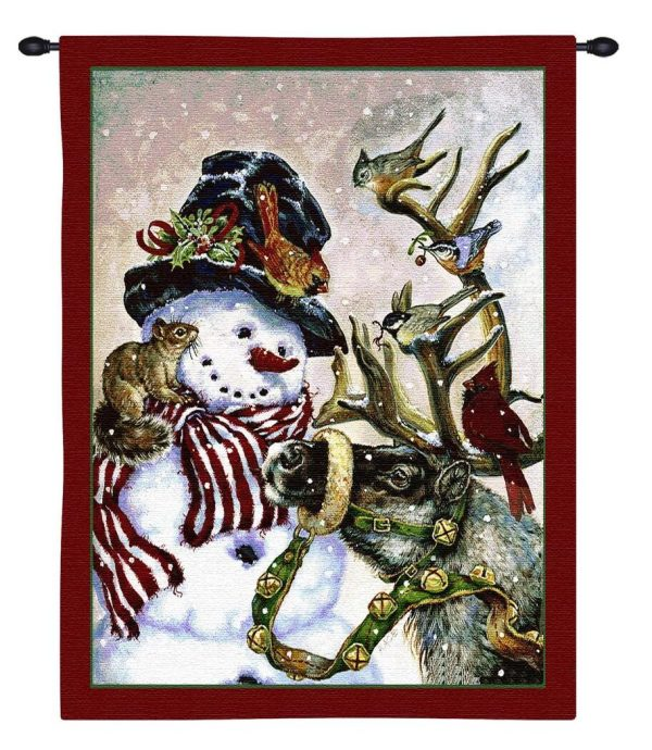 Snowman and Prancer Christmas Tapestry