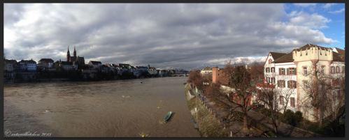 Basel Walking Tour January 2015 _ Münster and Rhine River from Wettsteinbrücke