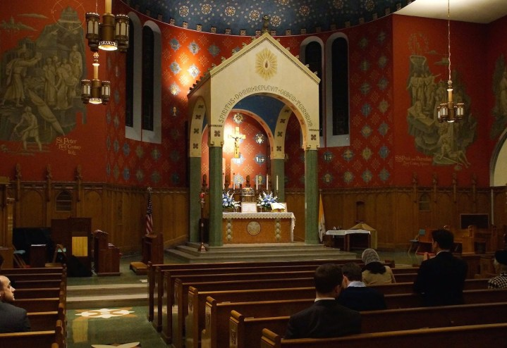 Holy Comforter-St. Cyprian Church (Washington, DC). Sanctuary with baldachin. Photo from parish website.
