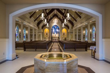 Holy Family Church (Pass Christian, MS). Built after Hurricane Katrina devastated two existing parishes. Nave view. Photo from JHH Architects website.