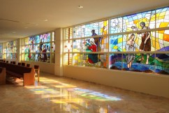 St. Jude Church (Tequesta, FL). Vibrant stained glass takes advantage of sunny weather. Photo from parish website.