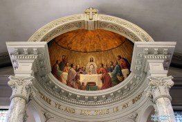 St. John's Newman Center at the University of Illinois (Champaign, IL). Reredos detail. Photo provided by Roamin' Catholic Churches.