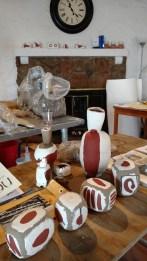 artist's worktable in studio