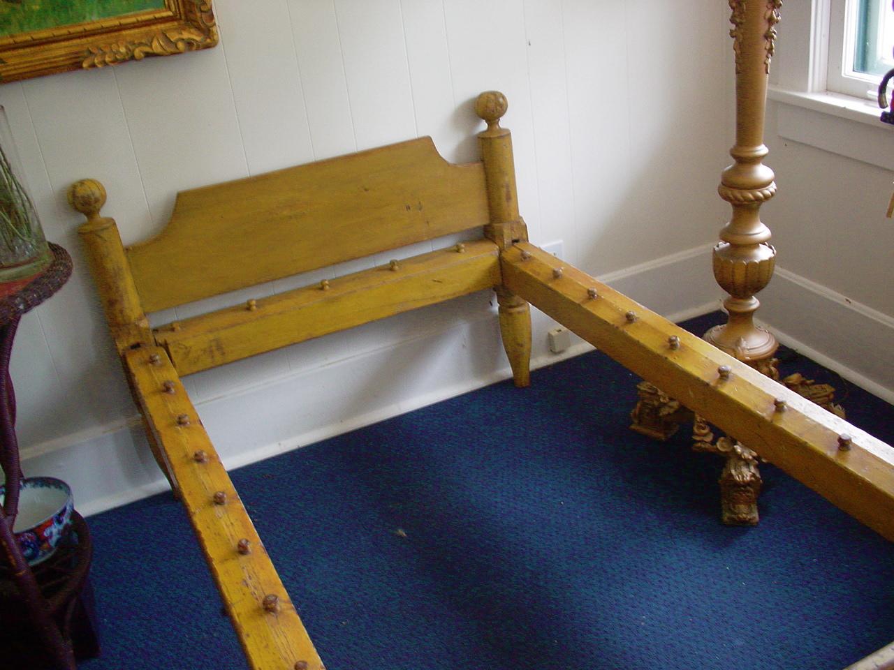 Mustard Paint Rope Bed c1800s original  Art Antiques
