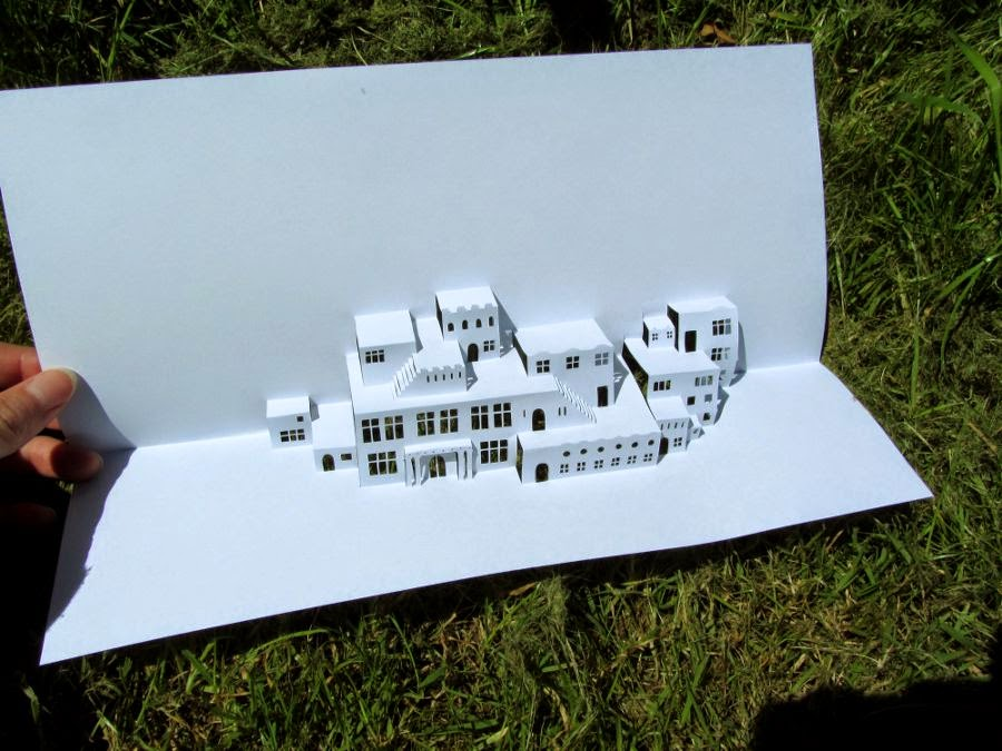 3d paper cut buildings