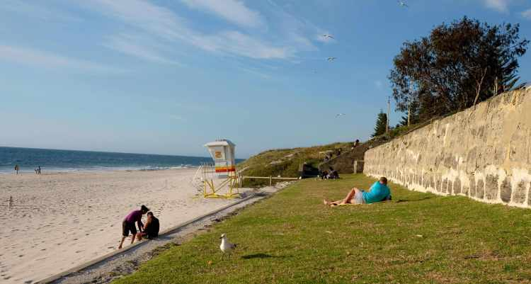 Cottesloe Beach, with lawn for easy lounging