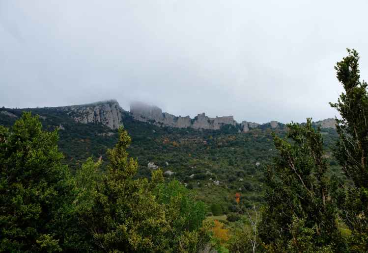 Peyrepertus from the valley below