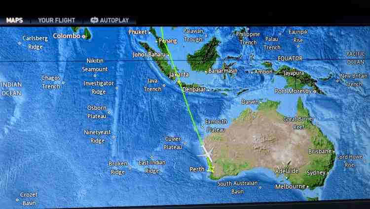 Our route from Bangkok to Perth