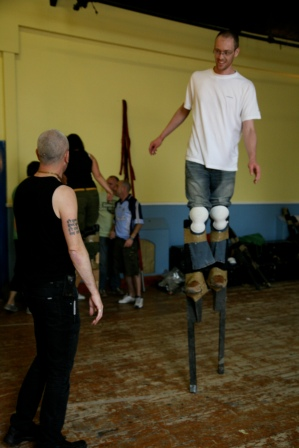 Stilt walking classes in ireland with Artastic, stilts street performers