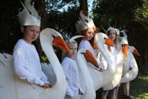 beautiful swan costumes made by community group working with artastic