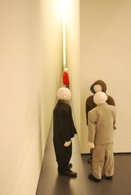 Talkmen (Sound, movement mechanism, synchronizer, metal construction, latex, clothes, 1999-2003)