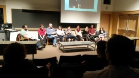 ART@IU Replotting Performance Conference with the director and cast of Hello Again during a roundtable session