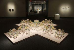 +, (Cross) Series #3, 2008, Ceramics, Plexiglas rods, Wood, 366x366x64 cm.