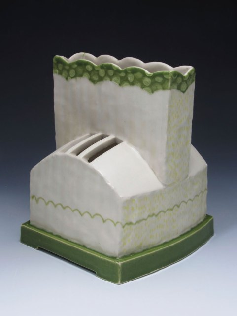 """slab and coil built, cone 6 porcelain, 7"""" x 8"""" x 7"""", 2013"""