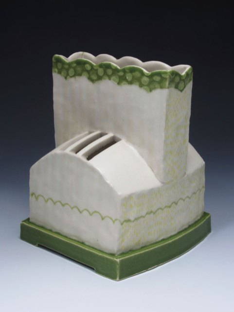 "slab and coil built, cone 6 porcelain, 7"" x 8"" x 7"", 2013"