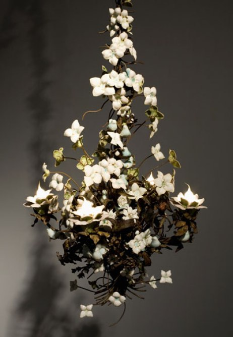 "porcelain and handmade glaze cone 6, with Katrina rusted 19th century French chandelier, 30"" x 24"" x 24"", 2008"