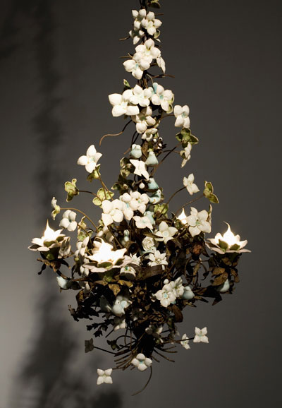 """porcelain and handmade glaze cone 6, with Katrina rusted 19th century French chandelier, 30"""" x 24"""" x 24"""", 2008"""