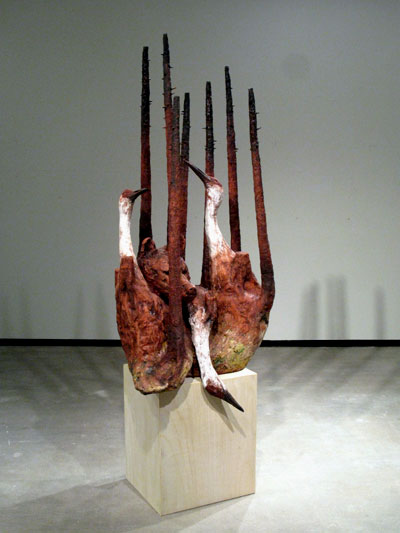 Undergrowth (Sandhills), ceramic, wood, 7'x3'x3', 2008