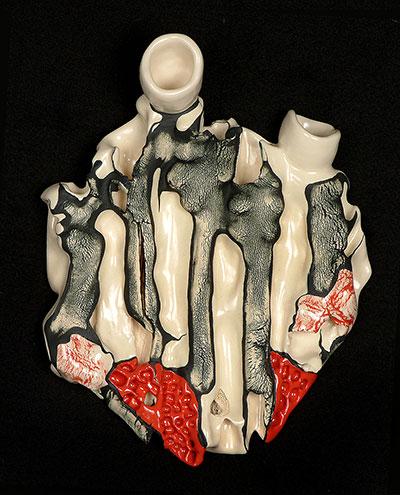 """ceramic, slip, stain, glaze, 12.5""""x 9""""x 2"""", 2006"""