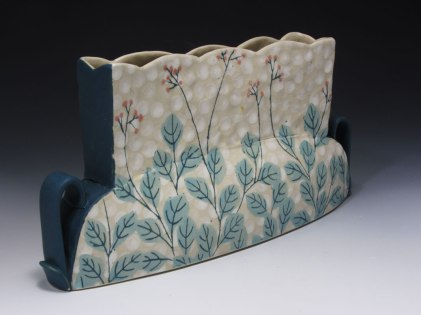 """slab and coil built, cone 6 porcelain, 10"""" x 8""""x 4"""", 2013"""