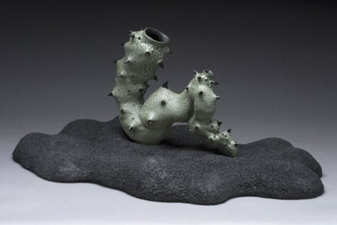 "13"" x 24"" x 18"", earthenware, stoneware base with mixed media, 2007"