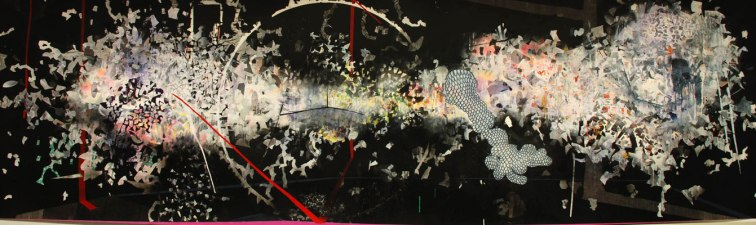 "acrylic, pen, ink, marker, charcoal, graphite, on drafting film, 48"" X 144"", 2010"