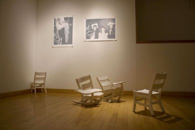"""Installation at Fleisher, press molded porcelain chairs, three color screen prints, 25"""" x 36"""", 2009"""