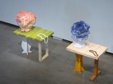 """Portals, 2012, 40"""" x 36"""" x 24"""" (left), ceramic and mixed media"""