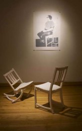 "nstallation at Fleisher, press molded porcelain chairs, three color screen print, 48""x25"" 2009"
