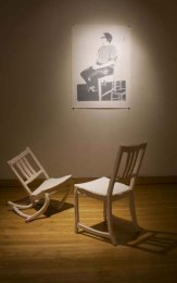 """nstallation at Fleisher, press molded porcelain chairs, three color screen print, 48""""x25"""" 2009"""