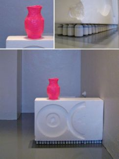 """2010, 32 x 36 x 6"""", duct tape, packaging styrofoam, found ceramic objects"""
