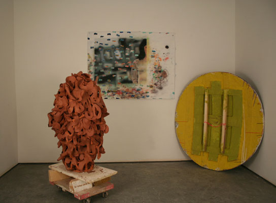earthenware, wood, casters, paper, acrylic, foam, string, dimensions variable, 2008