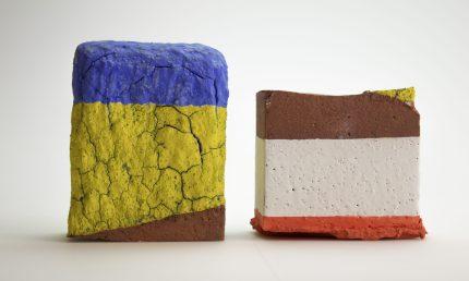 Raw brick altered, fired, underglaze_