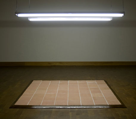 "84"" x 84"" x 13"", 2008, glazed ceramic, MDF, vinyl, latex paint, copper, light bulb"