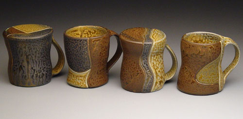 colored slips under ash glaze