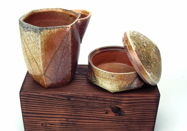 ^10 Wood-Soda Fired Stoneware, Slip, Glaze, 2018, Approx. 3x3x4.5 & 3x3x2 inches