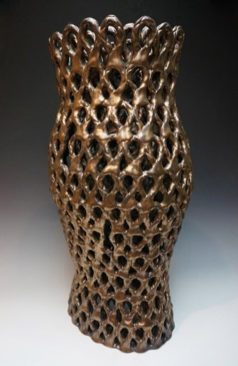 Stoneware, glaze, Cone 6 Oxidation, double wall, hand-built, 23h x 12w x 12d inches