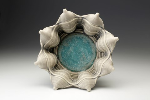 Porcelain, wheel thrown and wet altered, Cone 10, oxidation fired