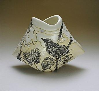 """Ann Ruel, """"Birds in a Meadow Origami Vase"""""""