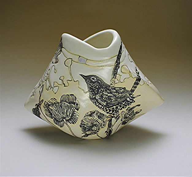 "Ann Ruel, ""Birds in a Meadow Origami Vase"""