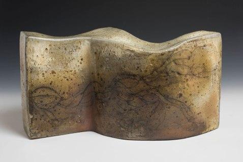 """21"""" X 3"""" X 11"""", woodfired, saltglazed stoneware, 2016"""