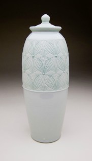 """Porcelain with carved pattern, 21H x 6.5W x 6.5D"""""""
