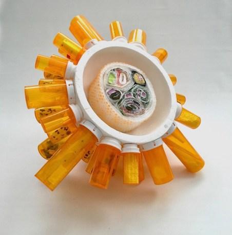 "2018, Plastic and Foam Assemblage Sculpture, 19"" x 19"" x 12"""